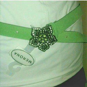 Green Suede Belt With Metal Flower Buckle